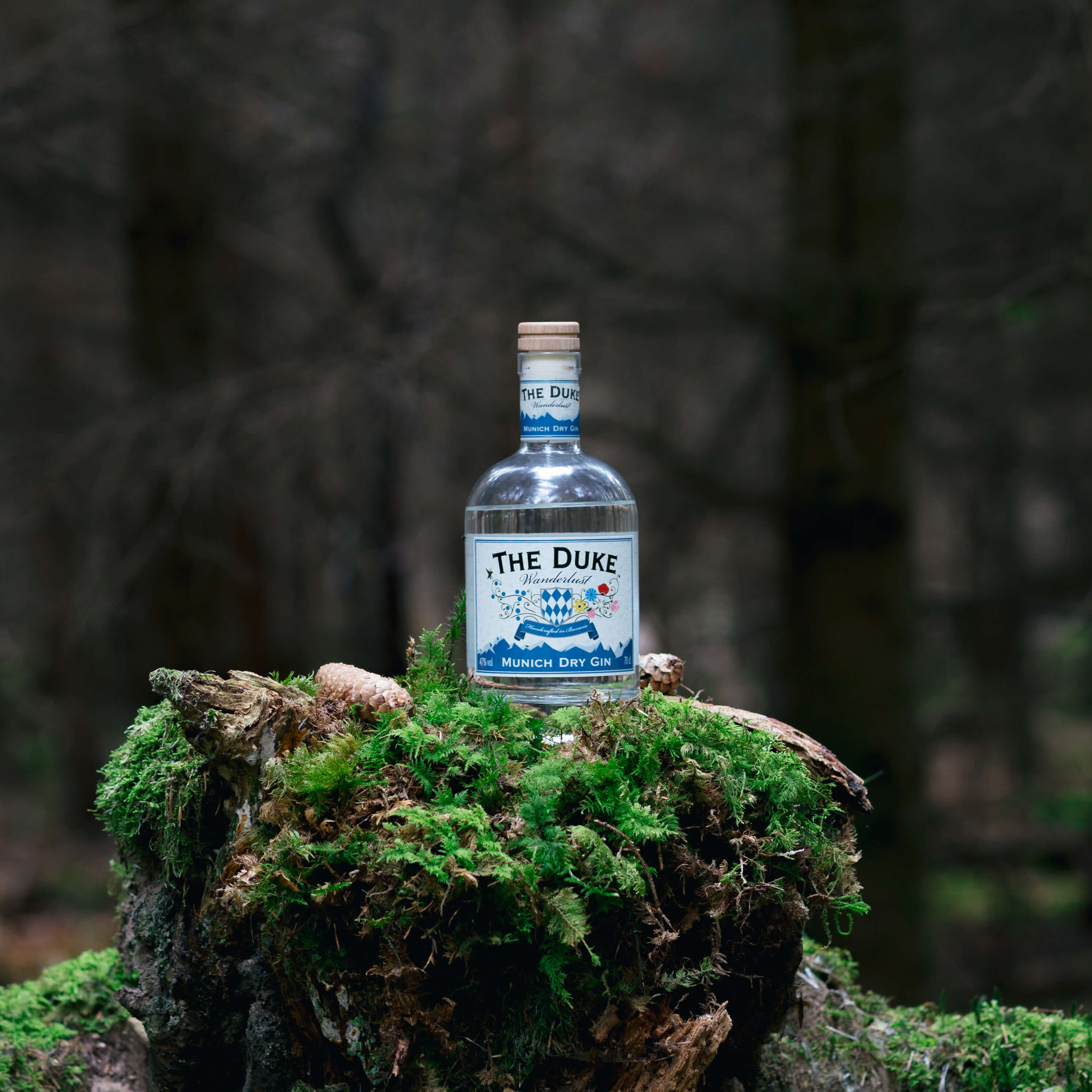 Ginflasche im Wald