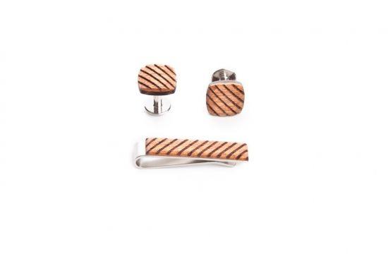 Holz Set aus Krawattenklammer und Manschettenknöpfe