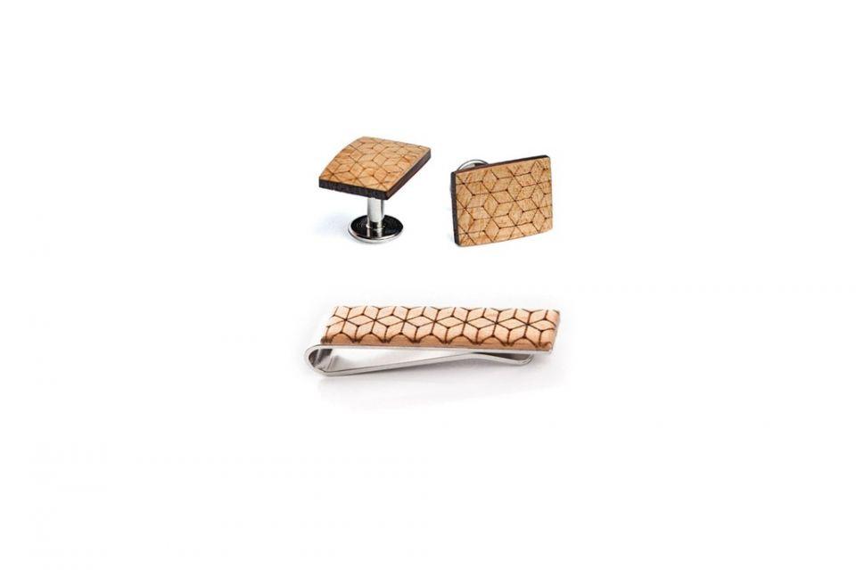Accessoires aus Holz Set Manschettenknoepfe und Krawattenklammer