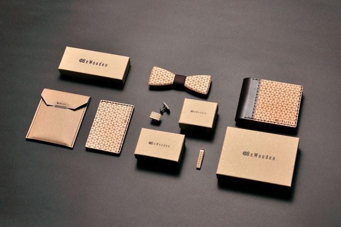 Geschenke Herren Holzfliege Manschettenknöpfe aus Holz