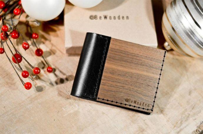 Holzfliege Tragekomfort gemütlich Holzportemonnaie