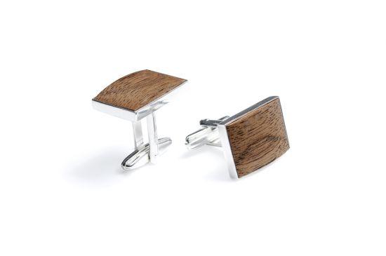 Manschettenknöpfe aus Holz und Silber Apis
