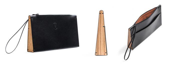 Schwarze Apis Clutch Handtasche aus Leder mit Holzdetail