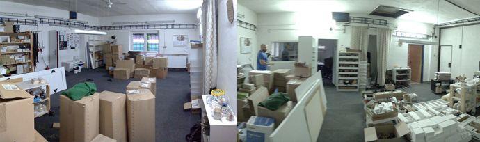 Fotos vom Wiederaufbau der BeWooden-Werkstatt in Rychaltice