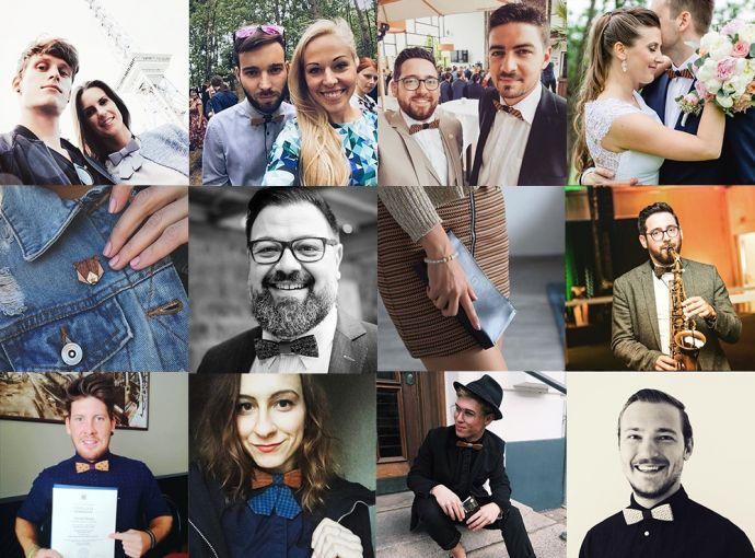 Collage von BeWooden Kunden mit Holzacccessoires