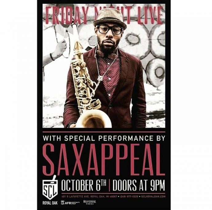 Ein Poster des Musikers Saxappeal mit Saxophon