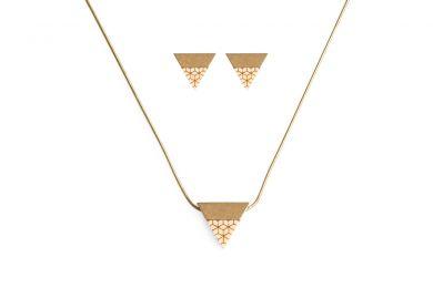Ohrringe und Halskette aus echtem Silber und Holz Liti Set