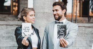 Rebellische Hochzeit in Schwarz und Weiß