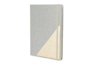 Einzartiges Notizbuch Lux Notebook mit einem Holzdetail