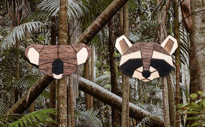 Die Koala und Waschbär Holzbroschen in den Tropen