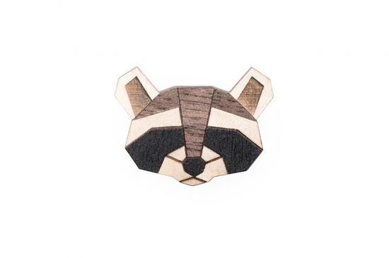 BeWooden - Raccoon Brooch