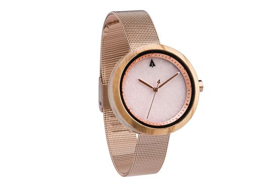 BeWooden - 0-Holz-Damenuhr-Theory-Rose-Gold-Pink-Marble