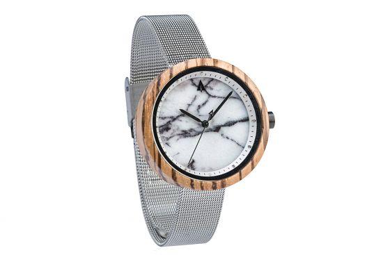 BeWooden - 0-Holz-Armbanduhr-Damen-Theory-Silver-Zebrawood-Marble