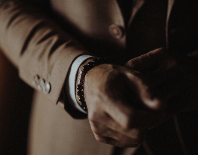 Holz Armband Herren mit Perlen